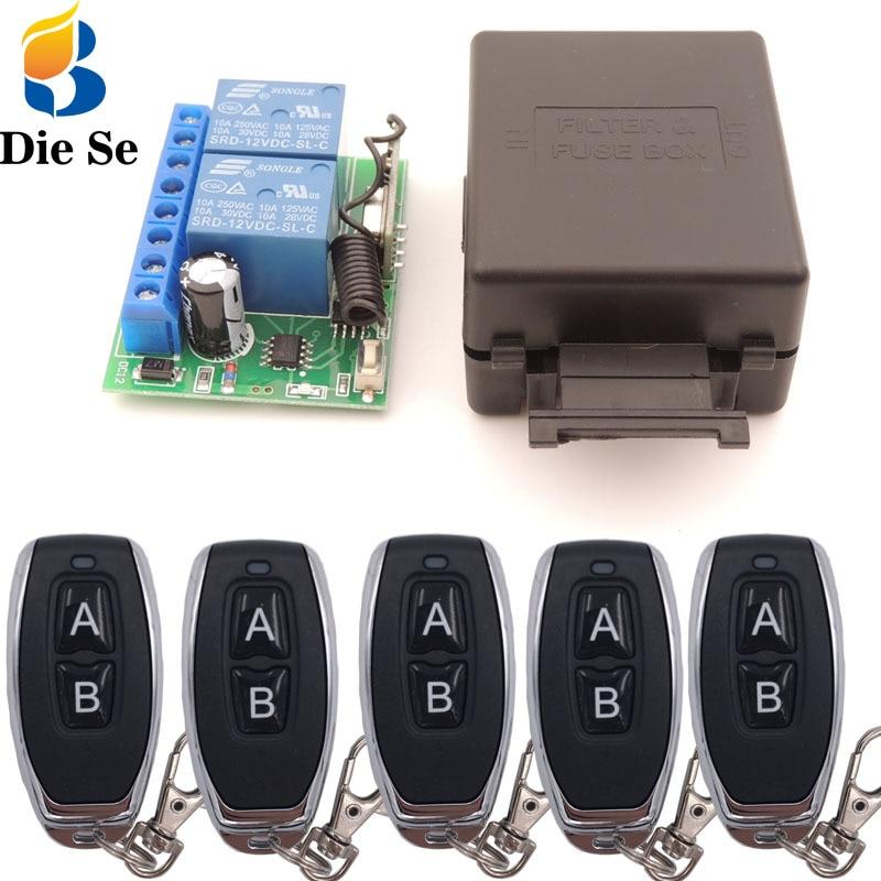 433mhz universal controle remoto sem fio dc 12v 2ch rf relé receptor e transmissor para porta de garagem universal e controle portão