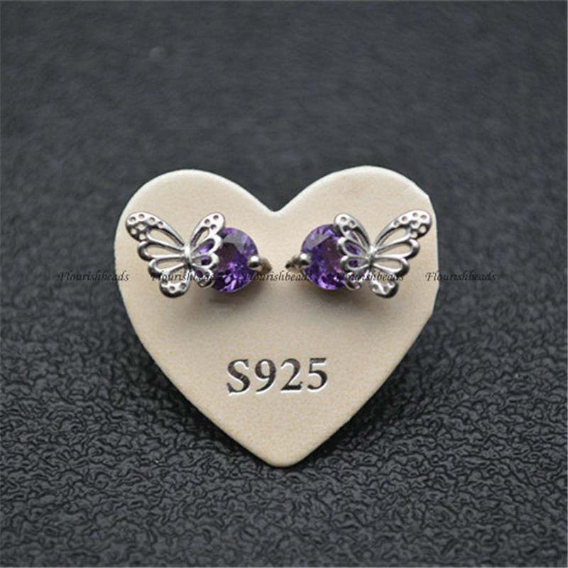 Big Size Natural Gemstone Beads Cute Butterfly Stud Earrings 925 Silver Bins Fashion Jewelry Amethyst Garnet Peridot Aquamarine(China)