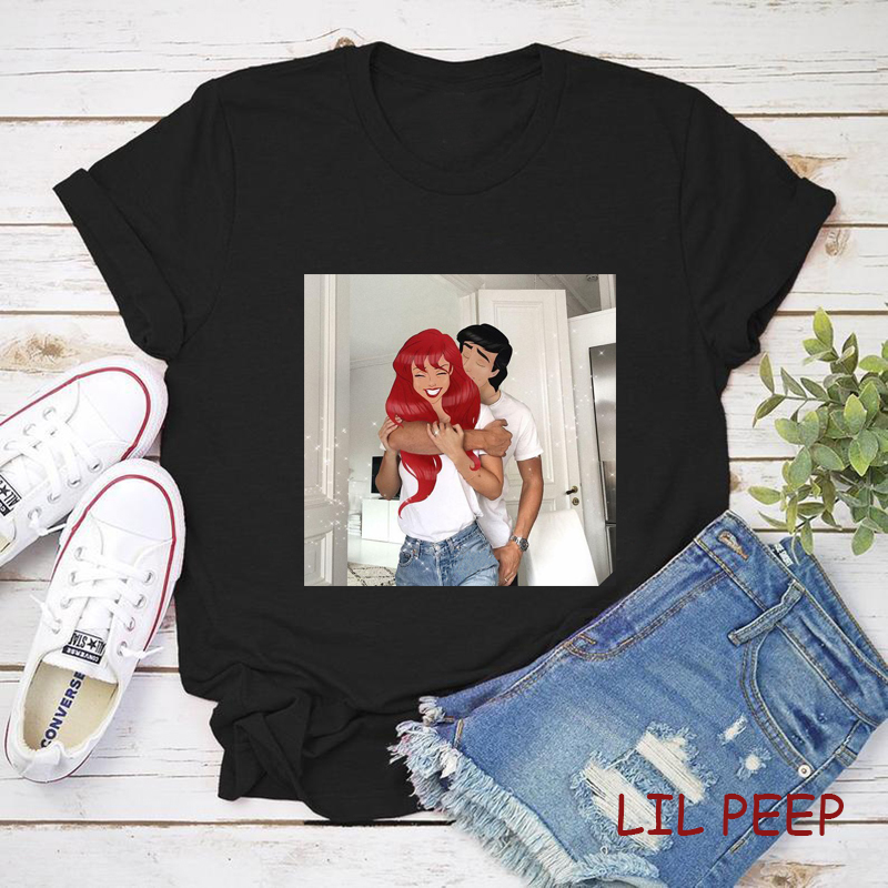 AestheticTee Shirt Femme Vogue Ariel The Prince Love Polyester Vintage Korean Clothes O-Neck Funny T Shirts  Harajuku Tops