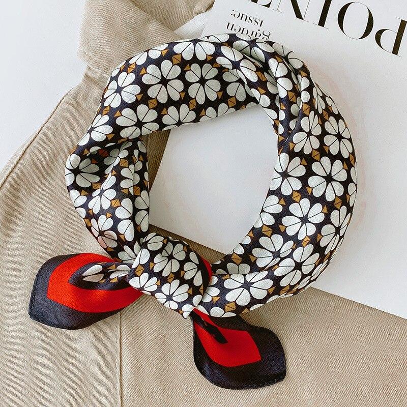 100% Silk Square szalik kobiety z wąską szyjką Hairband Foulard wysokiej jakości chustka stałe szaliki kobieta lato wiosna nowy szalik