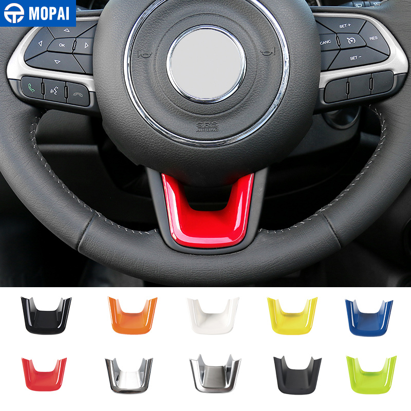 MOPAI ABS Car Interior Steering Wheel Decoration Cover Trim Stickers for Jeep Renegade 2015  for Jeep Compass 2017  Car Styling