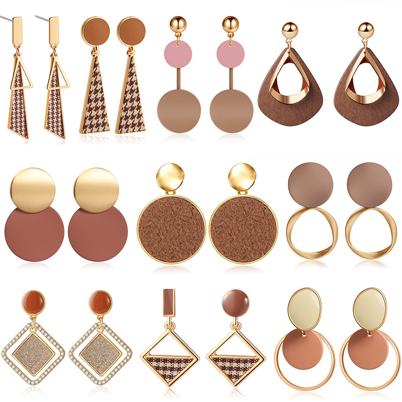 ZWCX Fashion Brown Geometry Vintage Prevent Allergy Drop Earrings For Women Party Houndstooth Pendant Earring Jewelry Wholesale