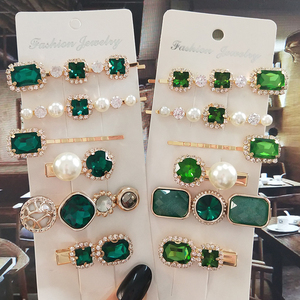Women Hair Clips Set Jewelry Fashion Green Crystal Hair Accessories Luxury Simulation Pearl Barrette Pin For Girl Gift Ornaments