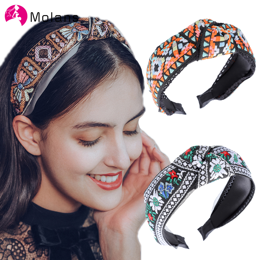 MOLANS New Classic Embroidery Headbands Top Knot National Wide Hairbands For Women 2020 Floral 5cm Width Knotted Women Headbands