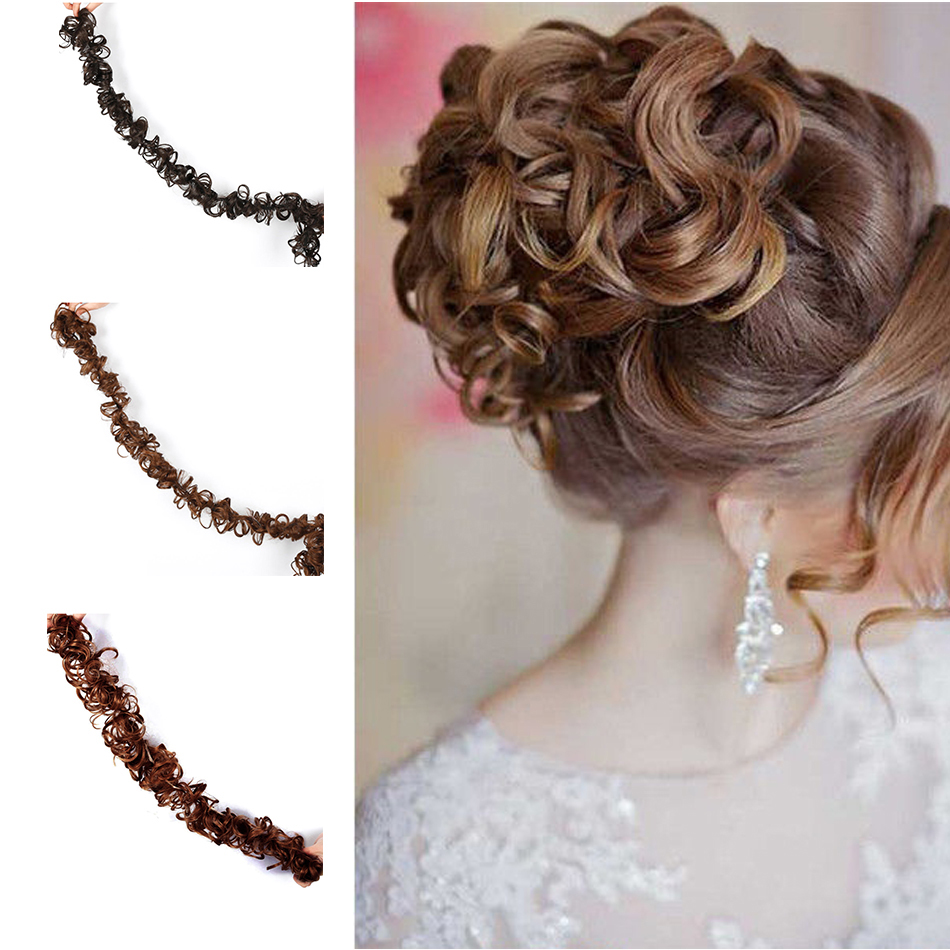 MUMUPI Hair Chignon Bun Diy Hair Elastic Band Synthetic Hairpiece Curly Scrunchie Tail Pad Puff Bundle Ponytail Updo Headwear
