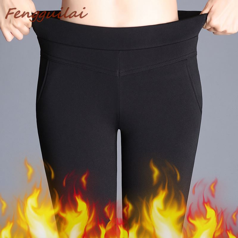 Winter Leggings Women Plus Size High Waist Stretch Thick Legging Solid Skinny Warm Velvet Pencil Pants Lady Trousers Bell-bottom