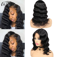 Wig Short-Hair Human-Hair-Wigs Lace-Front Glueless Loose Women Brazilian Deep-Wave HANNE
