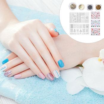9 sztuk Nail Art błyszczące kalkomanie do paznokci paznokci tłoczenia płyty szablony do paznokci paznokci Glitters szablony do paznokci paznokci Paillette tanie i dobre opinie none