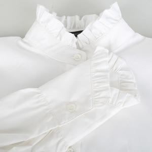 Image 4 - [EAM]2020 New Spring Autumn Stand Collar Long Sleeve White Loose Ruffles Stitch  Irregular Shirt Women Blouse Fashion Tide JL679