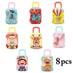 8pcs/Set Multicolor Kids Coin Bag Creative Mini Suitcase Shape Candy Box Mini Eraser Storage Box Premium Lovely Gifts For  Kids
