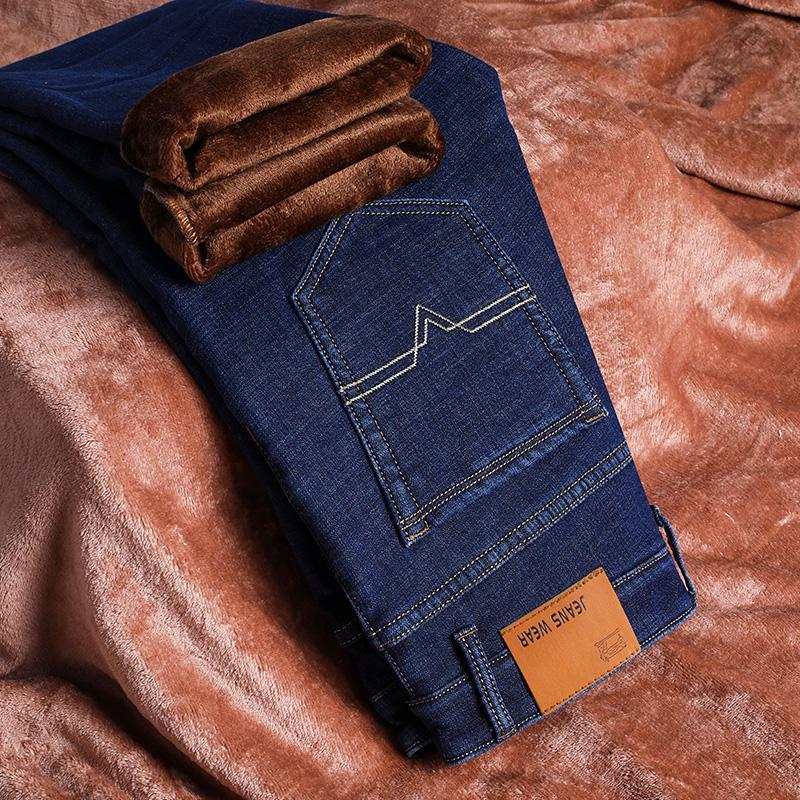 Новые мужские спортивные теплые флисовые джинсы высокого качества, известные осенне-зимние джинсы, теплые мягкие мужские джинсы из флока - Цвет: Синий
