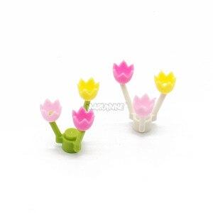 Image 4 - Marumine チューリップ市部分 50 個春の花茎草の花クラシックレンガ建設知育玩具