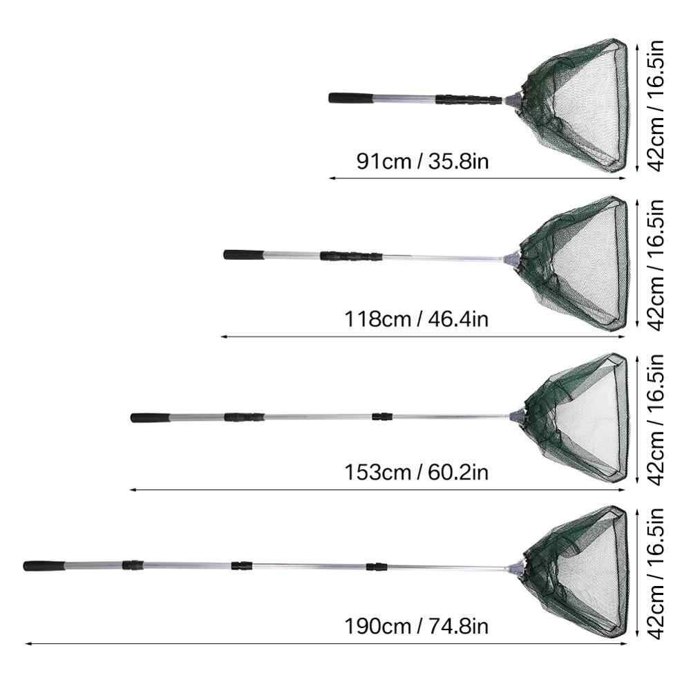 190cm 130cm 55cm filet d'atterrissage télescopique pliant pôle de pêche extension mouche carpe Course mer maille filet de pêche pour la pêche à la mouche