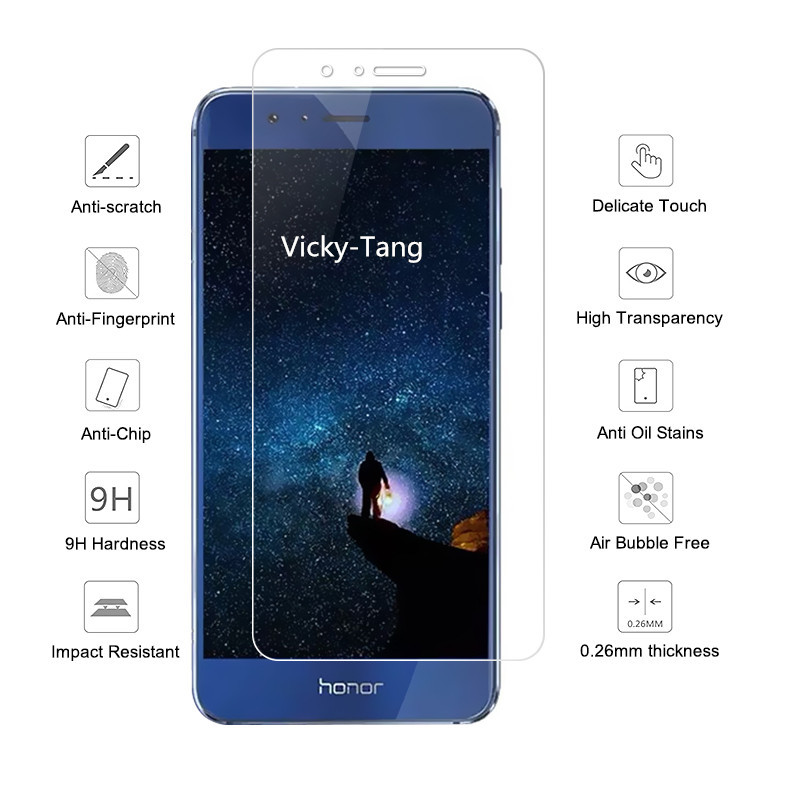 2 5d 9h Tempered Screen Protector For Huawei Honor 8 Anti scratch Phone Screen Glass for Huawei Honor 8 Lite Protective Film in Phone Screen Protectors from Cellphones Telecommunications