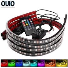 4 pièces/ensemble 60/90cm 36/54 LED bande de voiture lumière 5050SMD atmosphère lumières Dash plancher pied lampe décorative châssis lumières avec télécommande