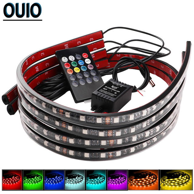 4PCS/set 60/90cm 36/54 LED Car Strip Light 5050SMD Atmosphere Lights Dash Floor Foot Decorative Lamp Chassis Lights With Remote