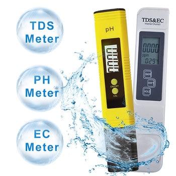 ph meter tester 3 in 1 lcd display digital water quality tester portable tds purity meter 0 99 ph meters digital meter 2Pcs Digital PH TDS EC Meter Tester Pen LCD Indicator Water Tester Detection PH Calibration for Aquarium Pool Water Monitor