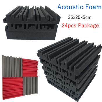 24 szt 250x250x50mm studyjna pianka akustyczna panele dźwiękochłonne KTV absorpcja szumów płytki piankowe klin dźwiękochłonne panele ścienne tanie i dobre opinie NONE CN (pochodzenie) 24PCS sponge Ordinary