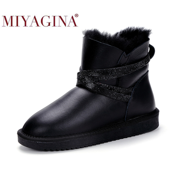keaiqianjin woman crystal snow boots shearling winter genuine leather shoe golden silvery plus size 34 43 diamonds ankle boots MIYAGINA Waterproof Sheepksin Leather Shearling Wool Fur Lined Short Winter Boots Women Ankle Snow Boots Silver Crystal Strap