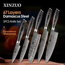 XINZUO ensemble de couteaux de cuisine japonais, Santoku, 67 couches, en acier inoxydable, damas, 5 pièces, couteaux doffice, manche en Pakkawood