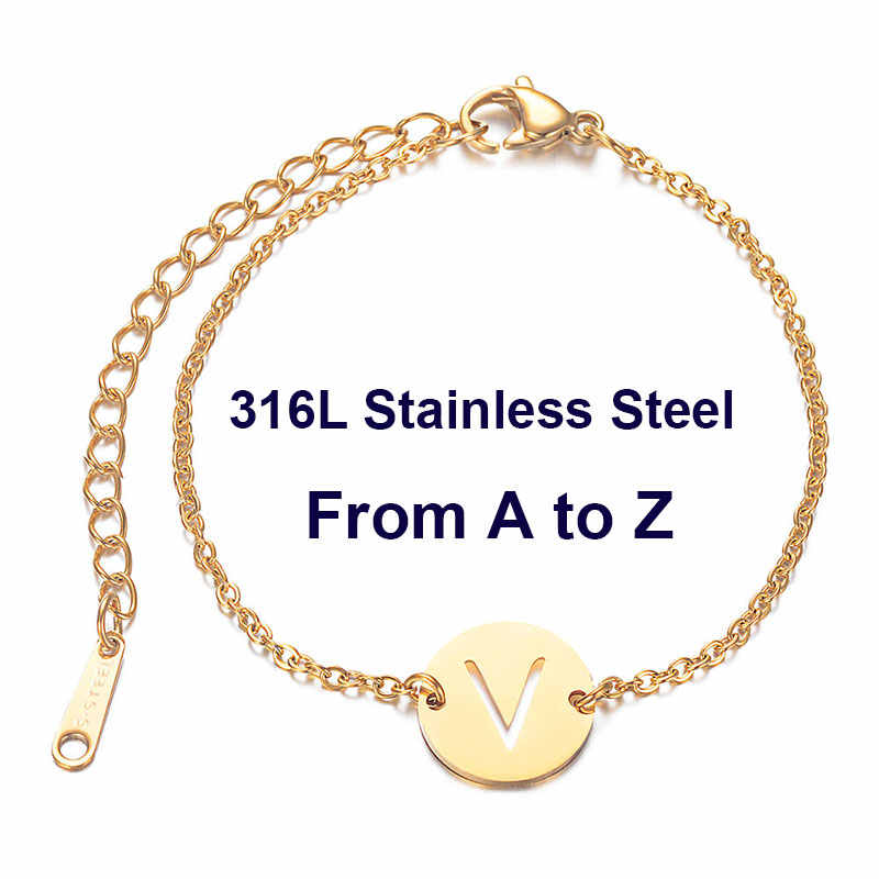 316L Stainless Steel Initials Name Bracelet from A-Z 26 Initials Letters Silver & Gold Chain Femme Gifts Girls 20cm