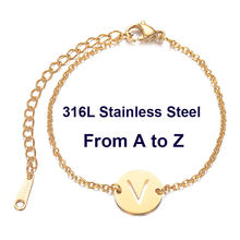 316L Stainless Steel Initials Name Bracelet from A-Z 26 Initials Letters Silver & Gold Chain Femme Gifts Girls 20cm(China)