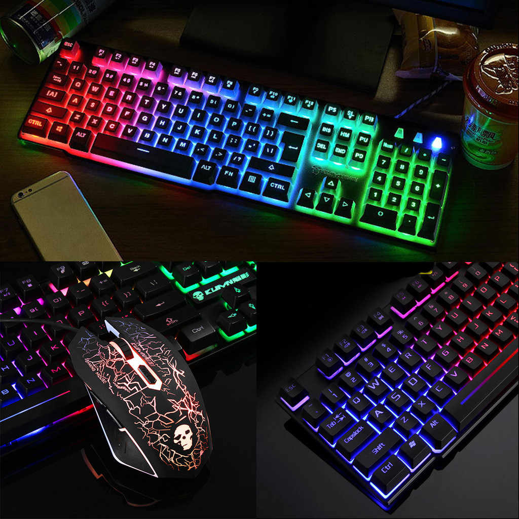 T6 Rainbow Backlight Usb Ergonomic Gaming Keyboard and Mouse Set for PC Laptop 2400DPI +104 full-size gaming keyboard set