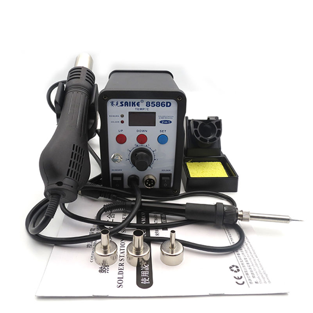 SAIKE 8586D Digital Display 2 In 1 Hot Air Gun Soldering Station +solder Iron  Constant Temperature Soldering Station