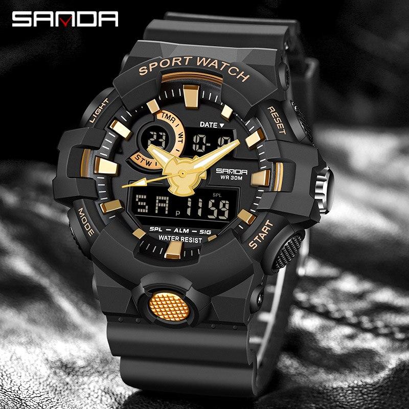 Top marque montre numérique hommes de luxe antichoc chronomètre montres SANDA marque électronique montre-bracelet hommes horloge alarme rappelant 6