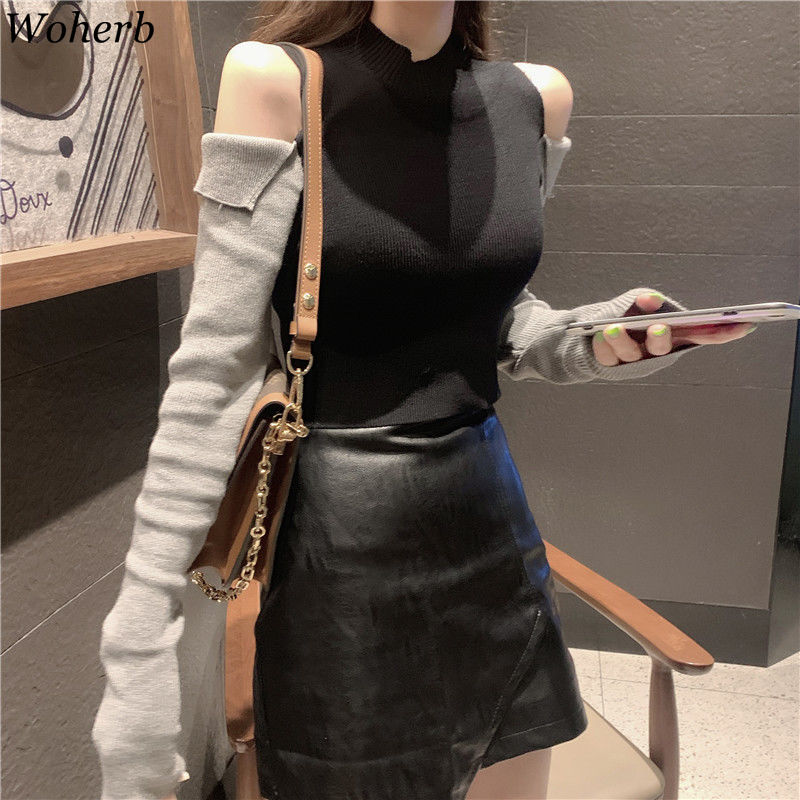 Woherb Sexy Crop Off Shoulder Long Sleeve Sweater Women Autumn Thin Basic Pullover Stand Collar High Stretch Knitted Jumper 2020