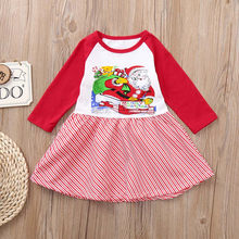 Baby Children dress long sleeve Santa twill stitching printed dress features new baby girl clothes fashion платье для девочки 50(China)