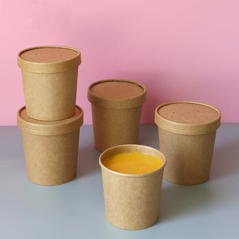 50pcs High quality kraft paper disposable ice cream soup dessert salad paper cup food snack takeaway packaging cups with lid