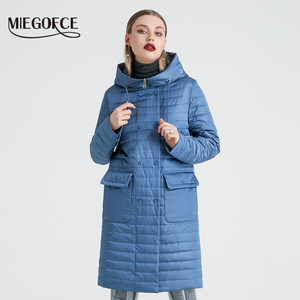 Image 3 - MIEGOFCE 2020 nowa kolekcja damska kurtka wiosenna stylowy płaszcz z kapturem i naszywki podwójna ochrona przed wiatrem
