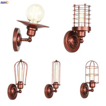 IWHD Rust Color Industrial Wall Light Bedroom Porch Stair Cafe Loft Decor Retro Vintage Wall Lamp LED Applique Murale Luminaira