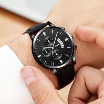 цена 2019 relogio masculino watches men Fashion Sport Stainless Steel Case Leather Band watch Quartz Business Wristwatch reloj hombre онлайн в 2017 году