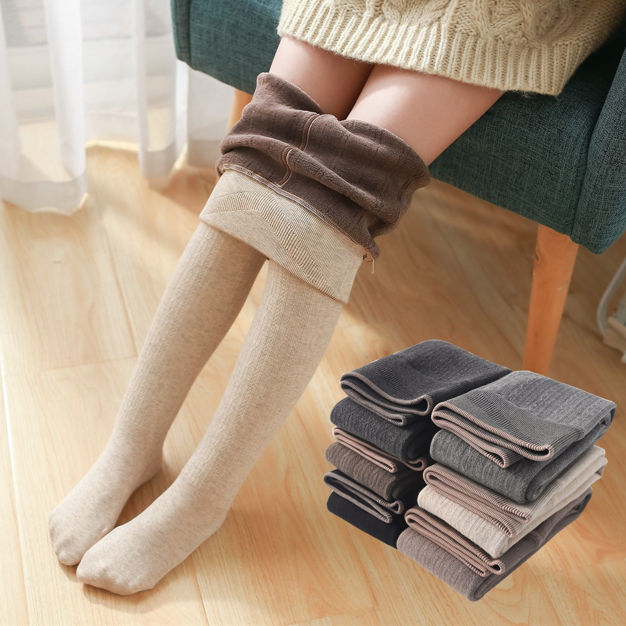 Winter Infant Brushed Thicken Girls Tights for Winter Warm Baby Girls Stockings Solid Kids Pantyhose Cotton Long Stockings 1
