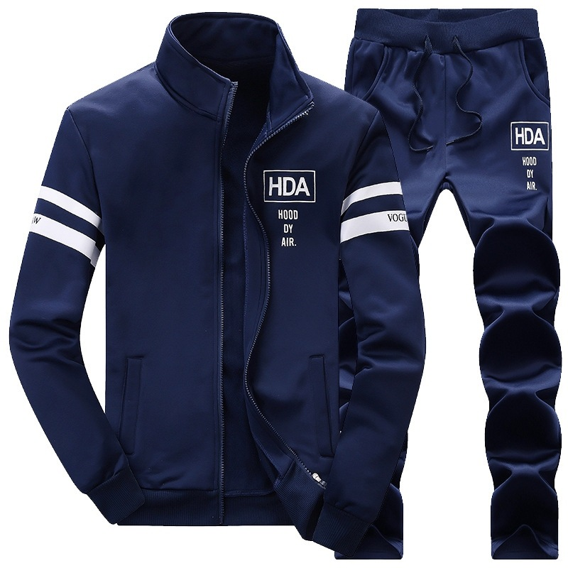New Style HDA Hoodie Men's Spring And Autumn Casual Stand Collar Long Sleeve Trousers Set Two-Piece Set Men's 2019
