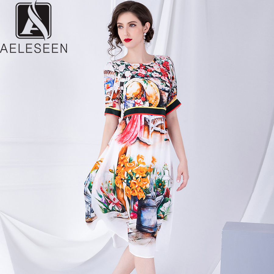 AELESEEN High Quality 100% Silk Runway Design Dresses Women 2019 Autumn Elegant Vintage Printed 3XL Plus Size Mid-Calf Dress