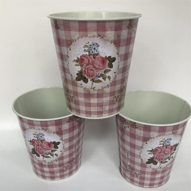10Pcs/Lot D12.5xH14CM Metal Vase Iron Planter Tin Boxes Wedding Centerpieces Home Decor