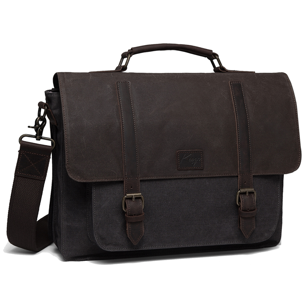 Messenger Bag For Men Vintage Water Resistant Briefcase Waxed Canvas Shoulder Bag For 15.6 Inch Laptop Bag For Men Women