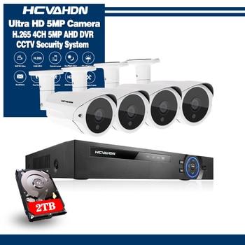 HCVAHDN CCTV camera System 4CH 1080P 5MP AHD security Camera DVR Kit CCTV waterproof Outdoor home Video Surveillance System HDD