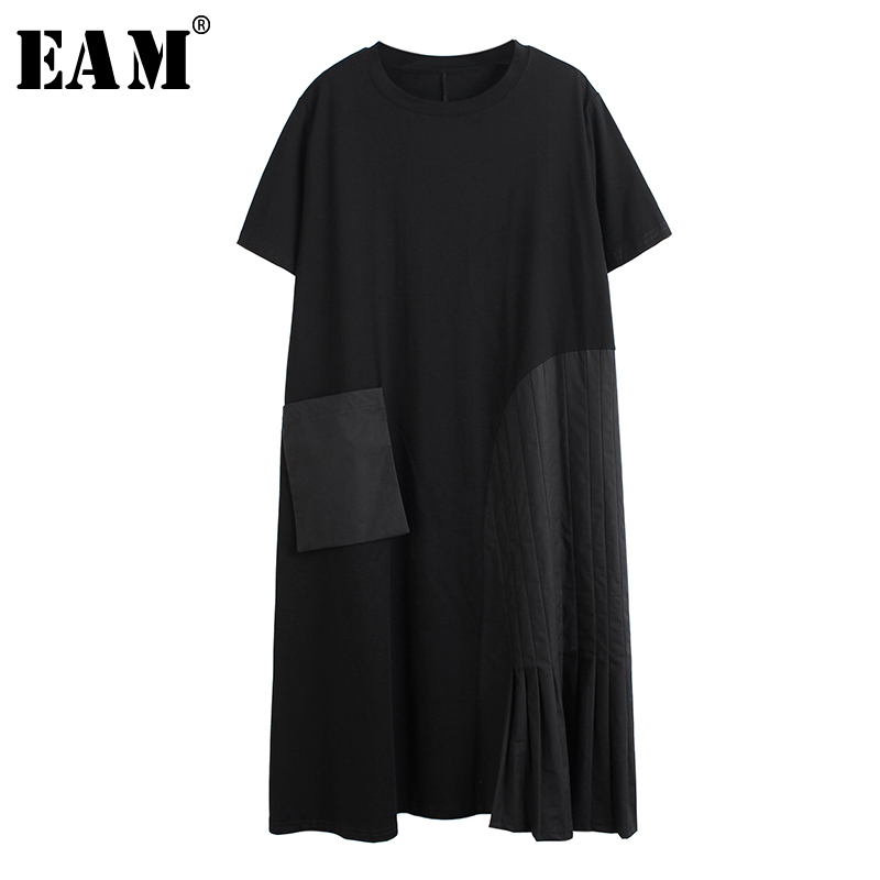 [EAM] Women Black Big Pocket Split Big Size Dress New Round Neck Sleeveless Loose Fit Fashion Tide Spring Summer 2020 1T898