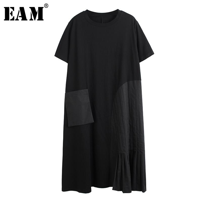[EAM] Women Black Big Pocket Split Big Size Dress New Round Neck Sleeveless Loose Fit Fashion Tide Spring Summer 2020 1T898