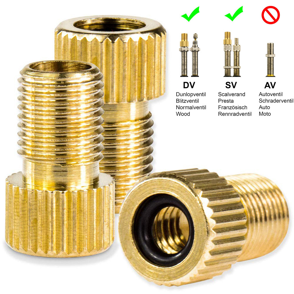 Bicycle Valve Adapter DV & SV (Dunlop & French Valve) To AV (Car Valve) With Rin  Bike Air Valve Adaptor Adapters Wheels
