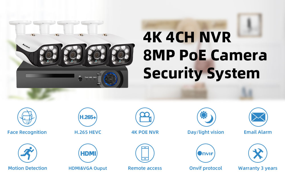 H.265+ 4CH 8MP 4K CCTV System POE NVR Kit 3840X2160 Audio Waterproof Metal IP Camera Bullet Home Security Camera System Xmeye