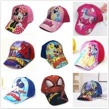 New Baby Boy Girl Hat Children Cute Cartoon Cars Mickey Spiderman Frozen Print Baseball Caps Kids Popular Hip Hop Kids Snapback
