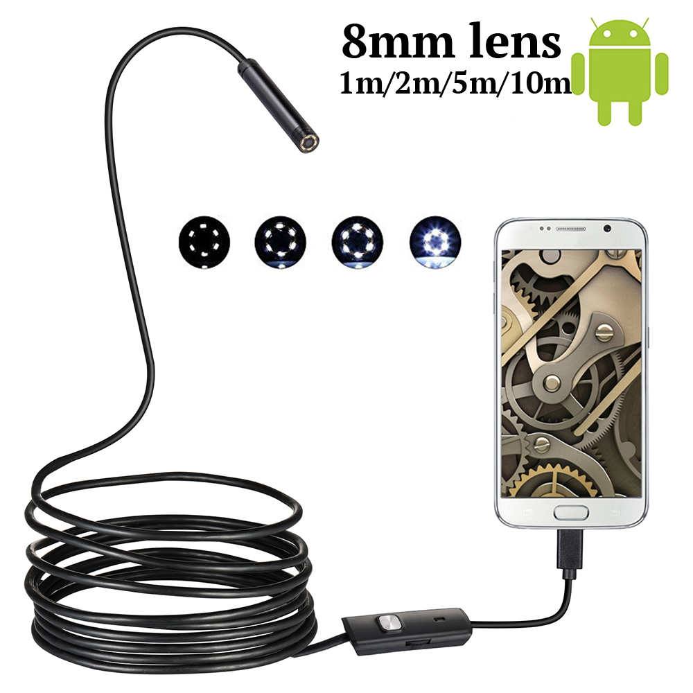 HD 8MM OTG Android Endoscope Camera  1M/10M  Video Endoscope Borescope Inspection Camera Windows USB Endoscope For Car