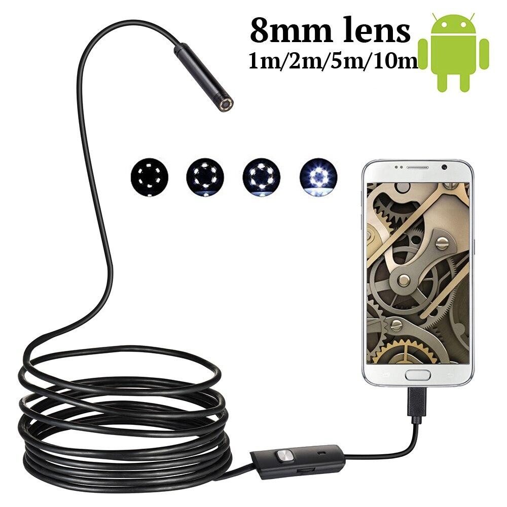 Güvenlik ve Koruma'ten Gözetim Kameraları'de HD 8MM OTG Android endoskop kamera 1 M/10 M Video endoskop Borescope muayene kamera Windows USB endoskop için araba title=