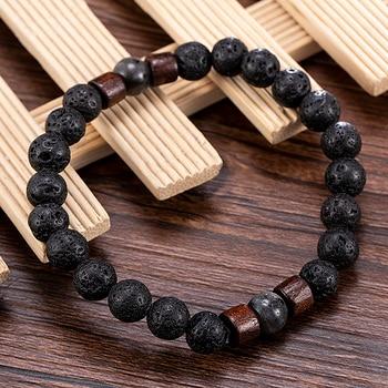 Fashion Women Men Lava Rock Stone Elasticity Yoga Beads Bracelet Lovers Party Bracelet Jewelry Gift 3