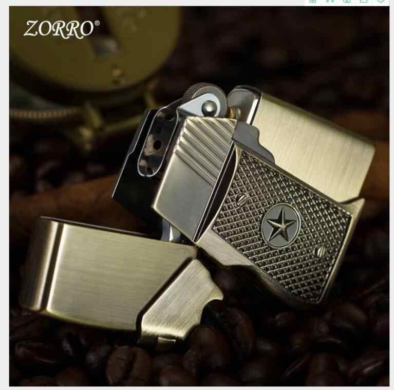 เดิมแท้ Zorro ปืนพกการสร้างแบบจำลองเกราะ aggravates คุณภาพสูงทองแดงบริสุทธิ์น้ำมันก๊าดไฟแช็กของขวัญกล่อง